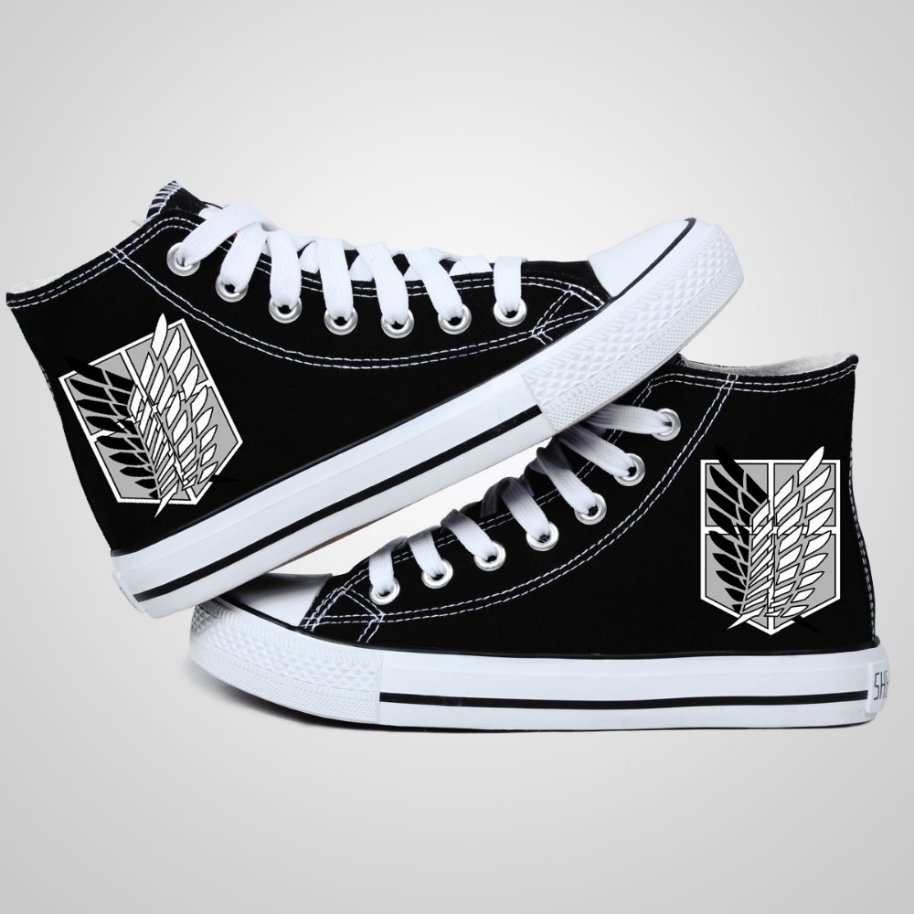 Unisex Anime Attack on Titan Shoes High Platform Canvas Shingeki no Kyojin Shoes board Ackerman Shoes Cosplay