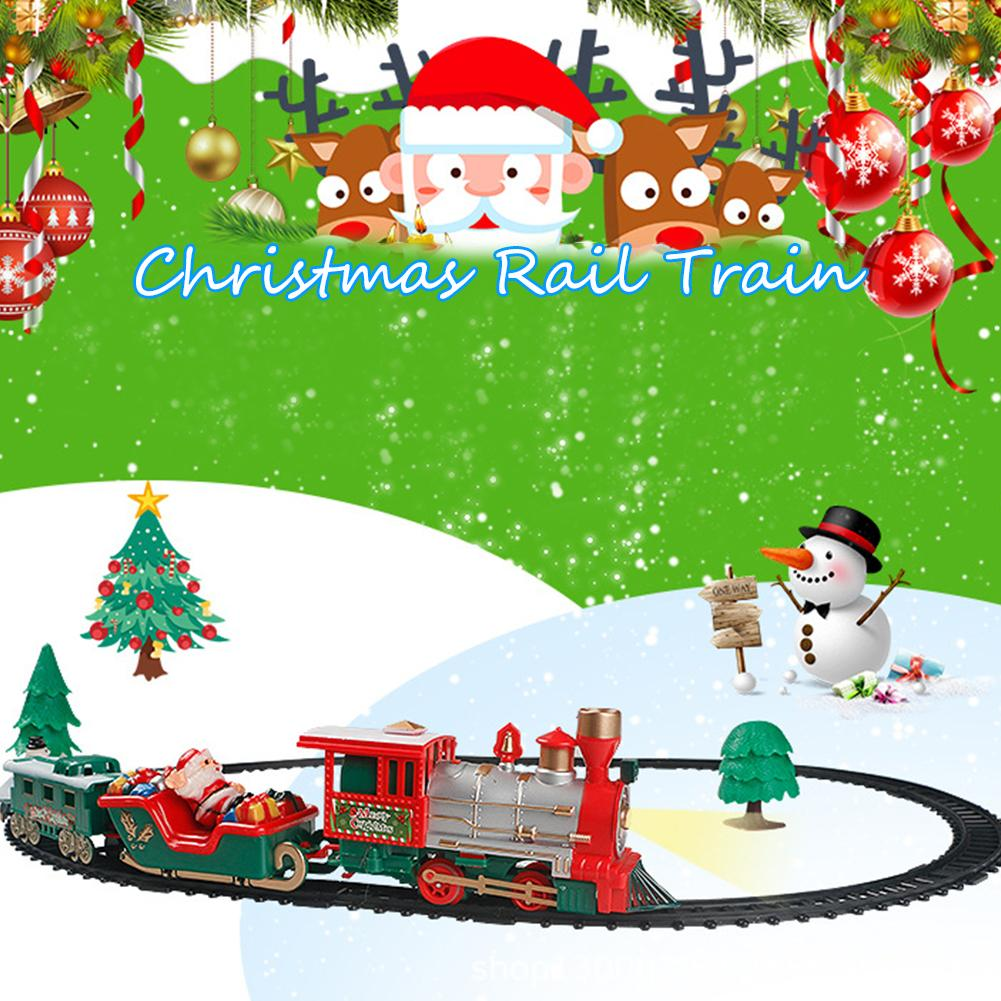 Niños pequeños tren pista juguete luz eléctrica música tren de navidad juguetes para bebés adornos navideños para el hogar navidad 2019