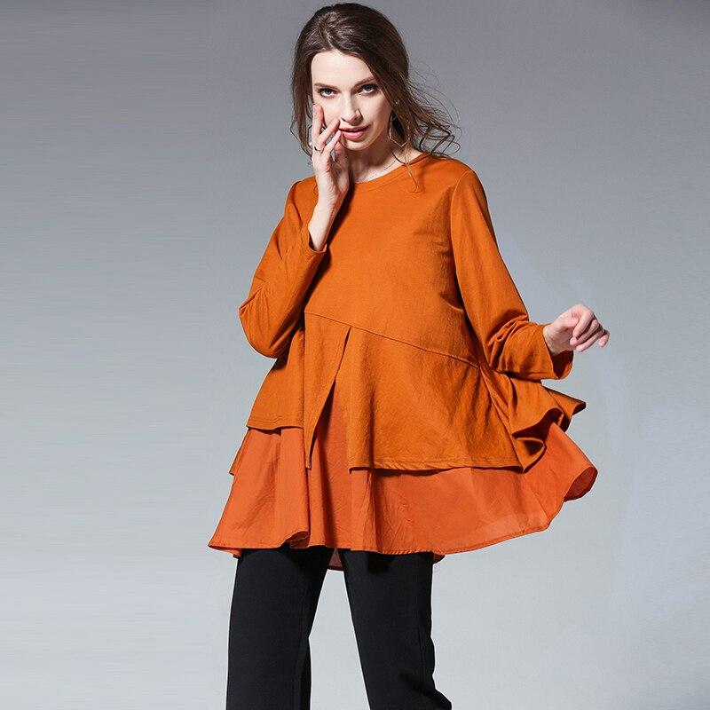 Coton Blouses hauts femmes 2018 nouveau chemisier dames manches longues volants rouge noir lâche décontracté hauts blusas grande taille XL-4XL