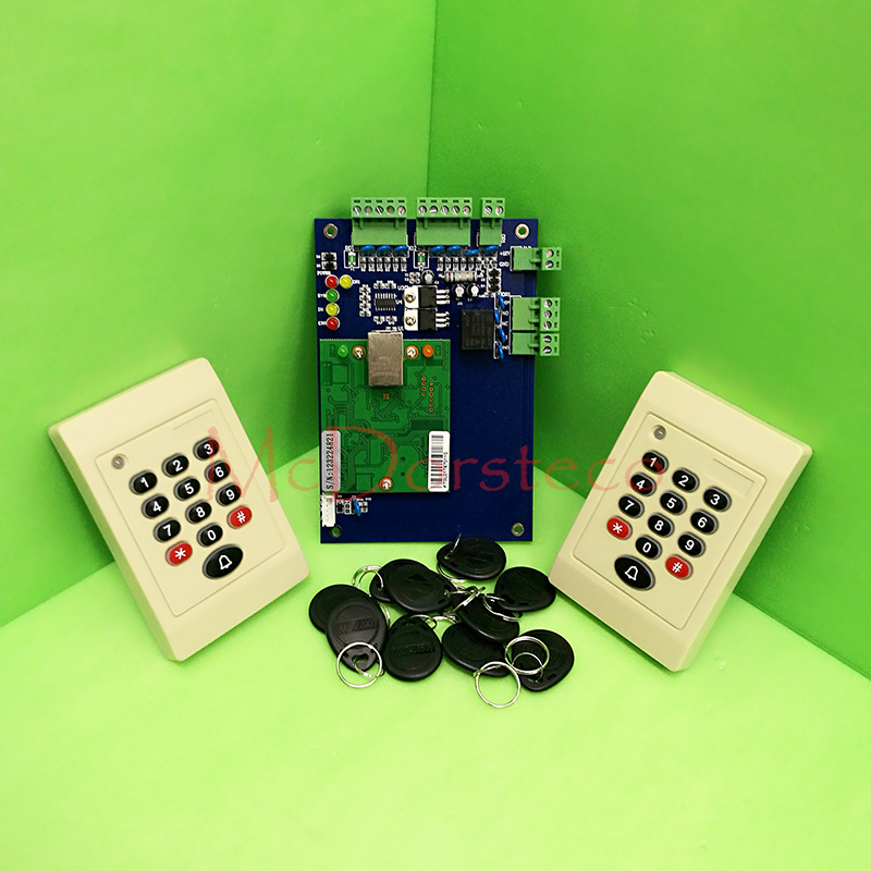 One Door RFID Access Control System Single Door Access Panel TCP/IP Access Controller+ 2PCS 125khz Keypad Rfid slave Reader