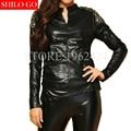 2017 осень зима мода новые женщины высокого качества сексуальные заклепки овец кожи шить норки кашемира трикотажные черная кожа рубашка 3XL