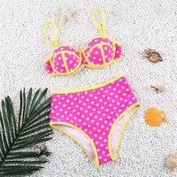 Nowy 2017 Brazilian Bikini Set Kobiety Swimsuit Patchwork Połowie Talii Dot Strój Kąpielowy Strój Kąpielowy Push Up Plaża Piękne Stroje Kąpielowe Kobiet
