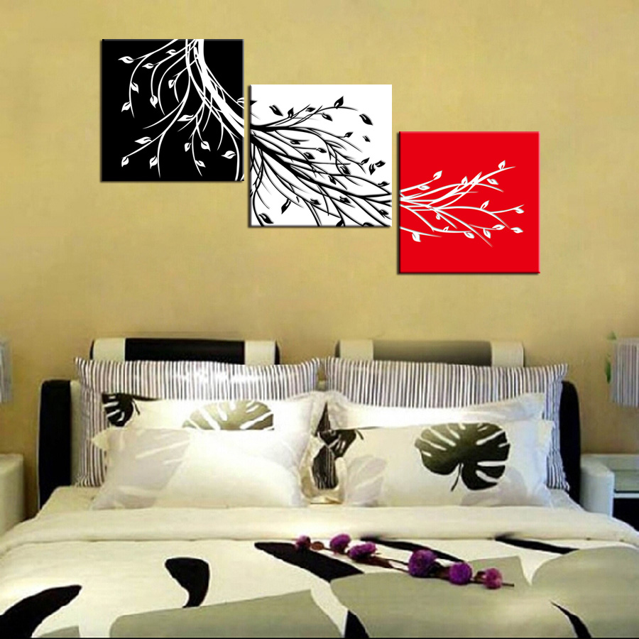 ShineHome 3pcs Wall Art Canvas Prints Abstract Paintings Triptych ...