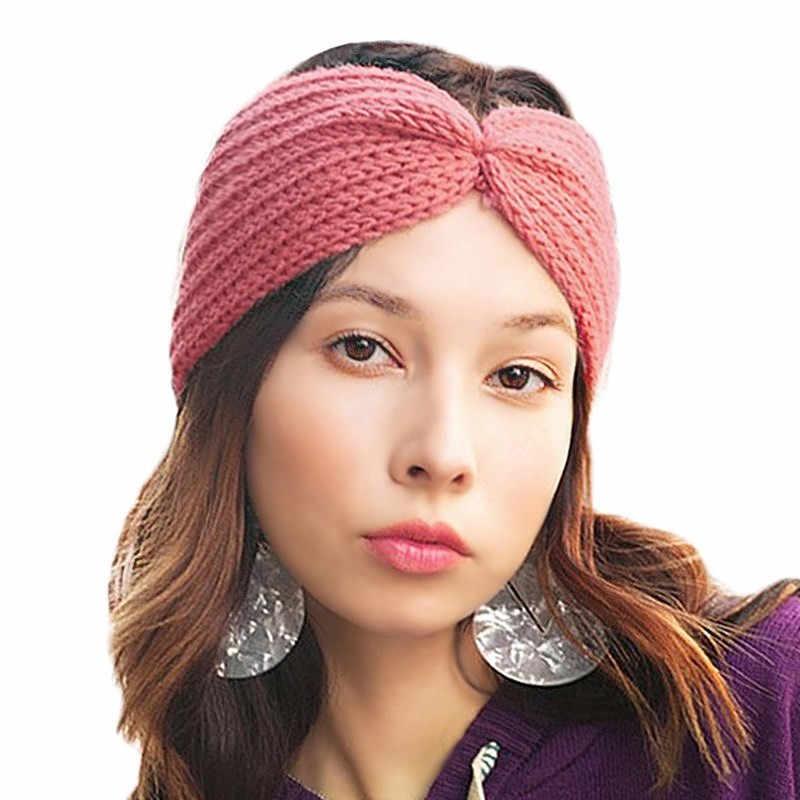 ... Women s Winter Warm Knitted Twist Headband Wool Crochet Knot Turban  Headwrap Bandage Turbante Hairband Female Hair ... fd78b848448