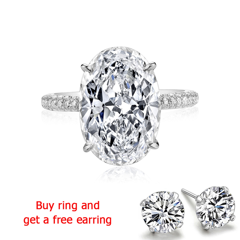 QYI Rings for Women 5 ct 925 Sterling Silver Wedding Rings Oval cut Cubic Zirconia Accessories