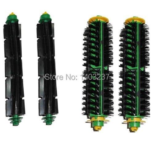цены на 2 Bristle Brush + 2 Flexible Beater Brush for iRobot Roomba 500 Series 510, 530 535, 540, 550, 560, 570, 580, 610 Vacuum Cleaner в интернет-магазинах