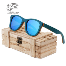 AN SWALLOW BRAND DESIGN Men Sun Glasses Bamboo Sunglasses Wooden Frame Vintage Sunglasses Polarized Lens Gafas Oculos de sol fashionable blue polarized lens bamboo frame sunglasses