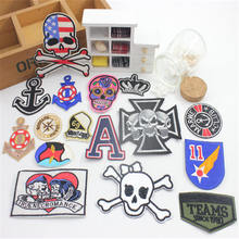 Free Shipping 1 pcs Skeleton Embroidered iron on Motif Applique garment bag shoe hat embroidery patches phone DIY accessories(China)