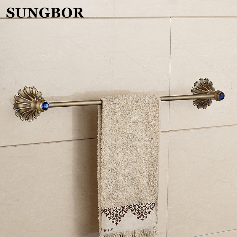 Bathroom antique/Gold/Black/Rose Brass Single Towel Bar Wall Mounted Bathroom Accessories Towel Rack Towel Shelf HY-2310F aluminum wall mounted square antique brass bath towel rack active bathroom towel holder double towel shelf bathroom accessories