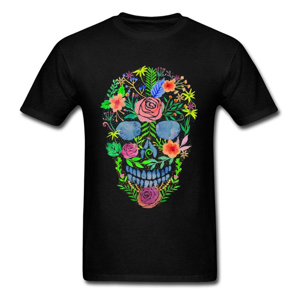 Funky acuarela flor cráneo hombres manga corta Camisetas manga corta Camiseta florales negro fresco hip-hop Halloween sudadera