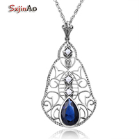 Szjinao Natural Pearl Pendant Women Friend Forever Sapphire 925 Sterling Silver Crystal Jewelry Wholesale Chandelier Free Box