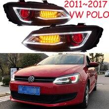 กันชนสำหรับPoloไฟหน้า2011 2012 2013 2014 2015 2016 2017ไฟท้ายLEDสำหรับPolo DRLเลนส์Double Beam HID Xenon