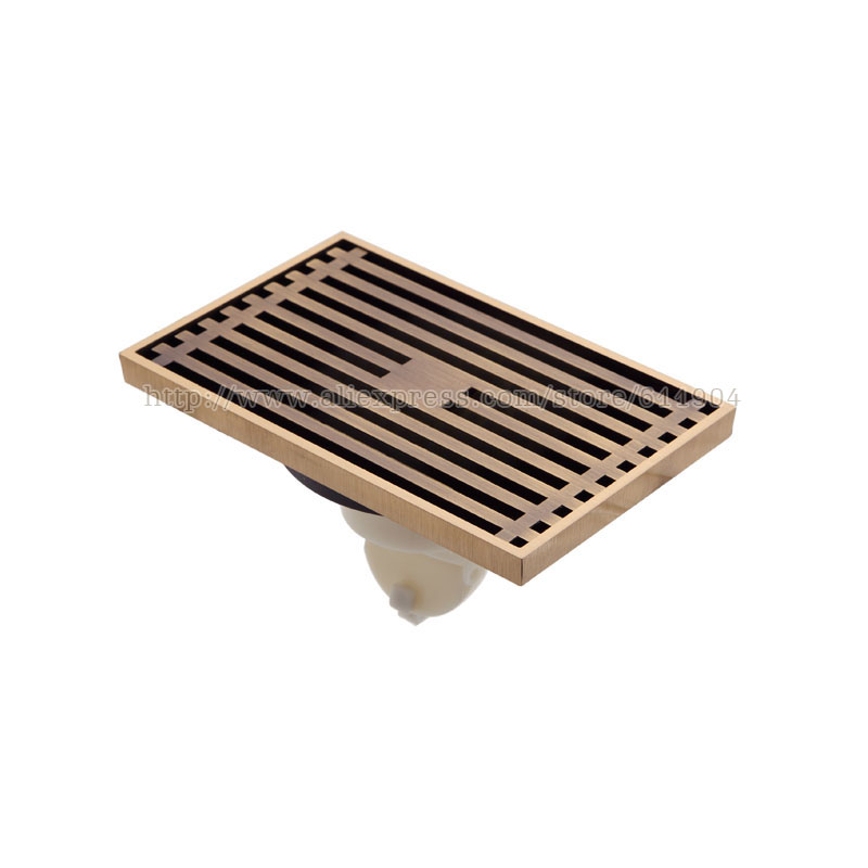 Antique Wired Bathroom Linear Shower Drain Floor Drainer Waste Grate With Strainer Cover 3712105L drains 12 12cm antique brass shower floor drain bathroom deodorant euro square floor drain strainer cover grate waste hj 8702s