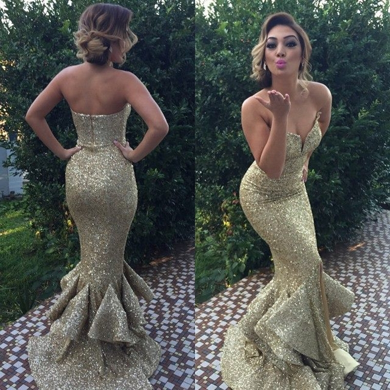 Sexy Gold Sequins 2015 Strapless Sweep Train Ruffles Maid of Honor font b Dress b font