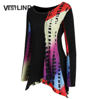 VESTLINDA Plus Size Asymmetric Color Block T Shirt Women Fashion Casual Round Neck Long Sleeves Long