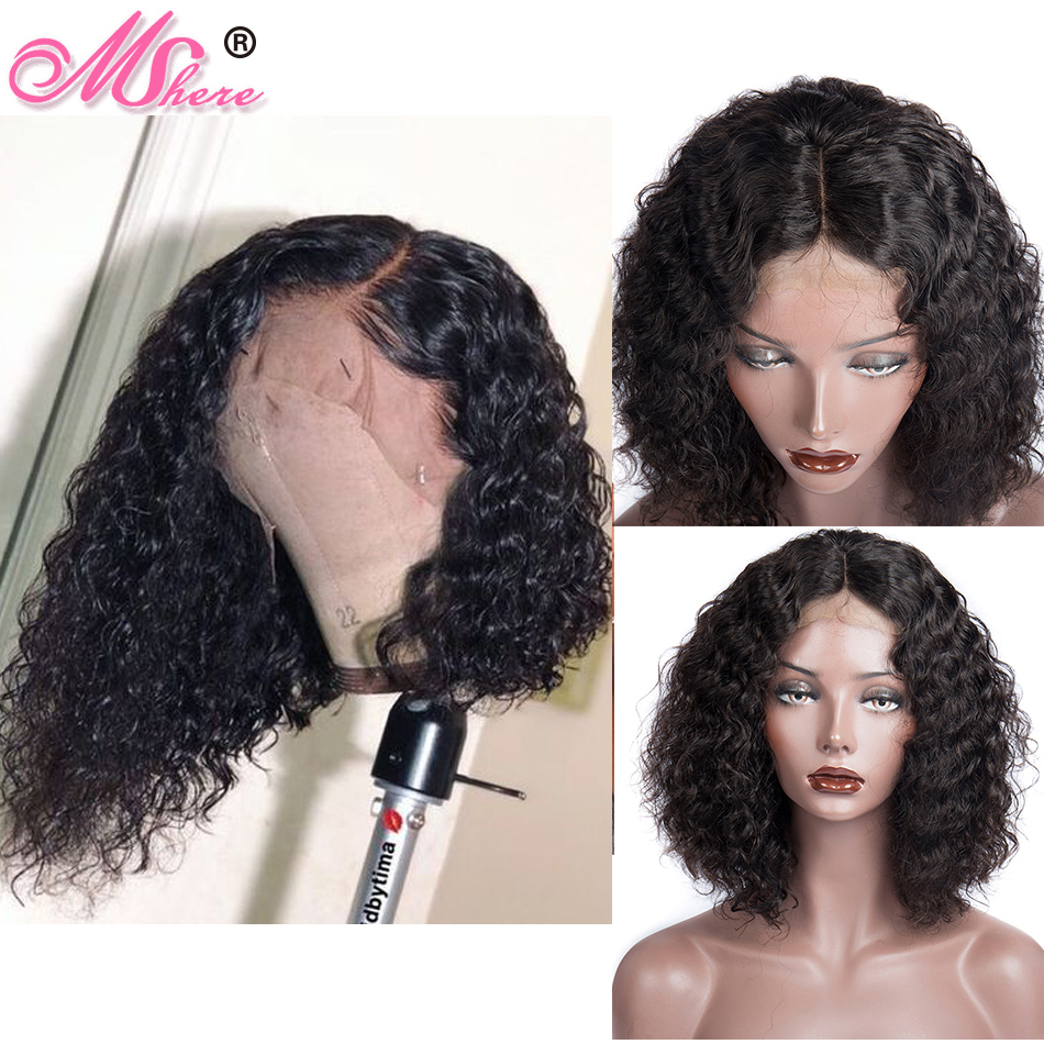Mshere 4x4 Lace Closure Wig Brazilian Bob Wig Lace Front Short Deep Wave Curly Human Hair