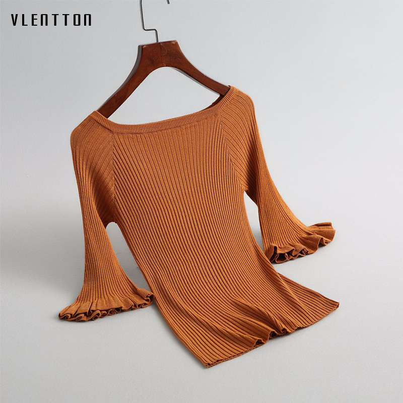 2019 New Ruffle Half sleeve Short T Shirt 4 Colors slim Pullover Sweaters Women Spring autumn Elegant Ladies Knitted Tops