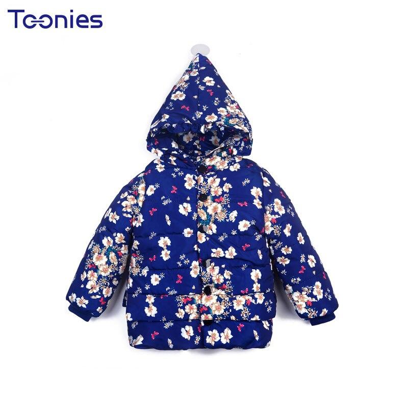 3-5 Years Child Girls Coats New Winter Cashmere Girl Jacket Cute Hoody Kids Coat Flower Print Warm Thick Cotton Children Jackets