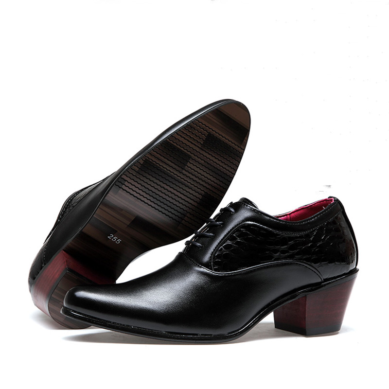 Image 3 - Formal Shoes Men Leather Dress Shoes Male Business Derby Oxford  Shoe Pointed Toe High Heels Black Luxury Wedding Mens Office ManFormal  Shoes