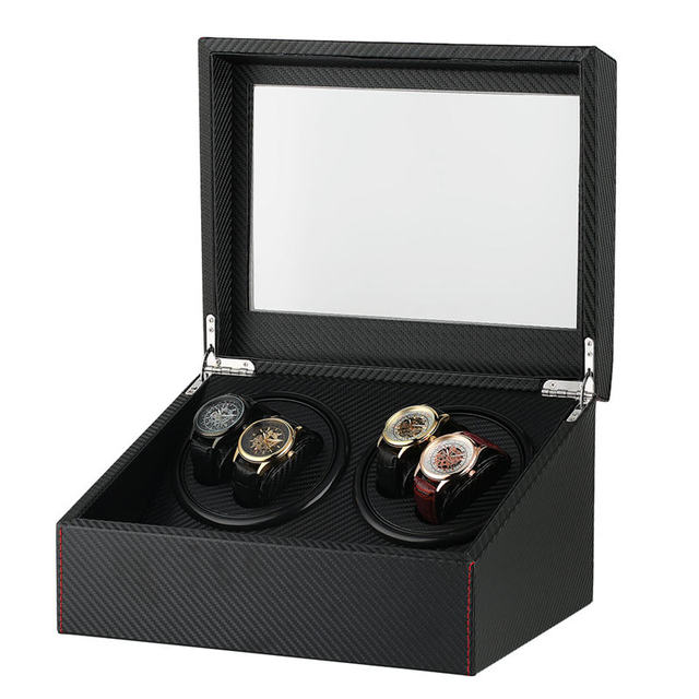 Reloj Automático silencioso rectangular con enchufe EE. UU./UK/AU/EU 4 + 6 reloj de sarga de cuero negro winder caja organizacion relojes