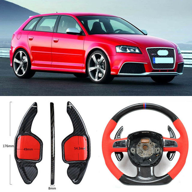 $ 103.39 Carbon Fiber Gear DSG Steering Wheel Paddle Shifter Cover Fit For Audi RS3 2012/RS6 2009/S3 14-17