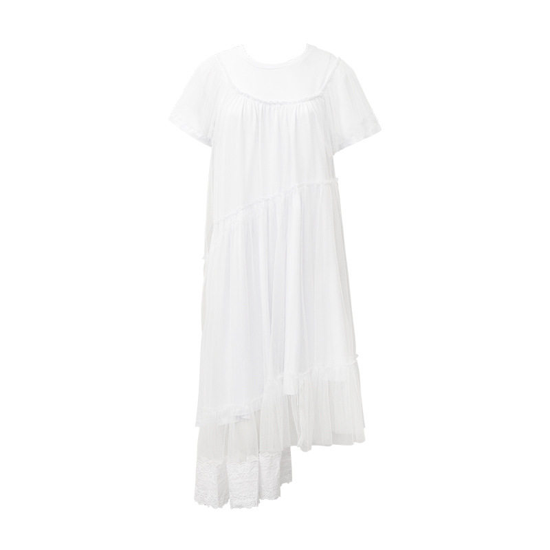 2018 été nouveau Style européen et américain maille dentelle longue robe irrégulière noir blanc Goth gothique punk filles hippie robes