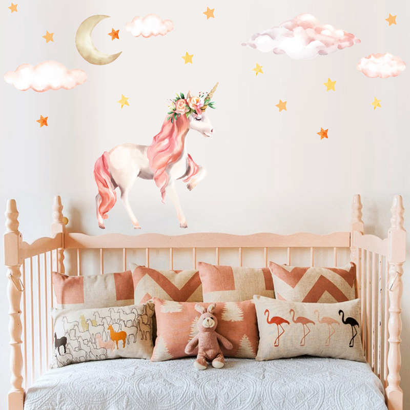 Pink Flamingo Balloon Wall Stickers for Kids Rooms Girls Rooms Bedroom Decor Cartoon Animal Unicorn Stickers for Wall Decal