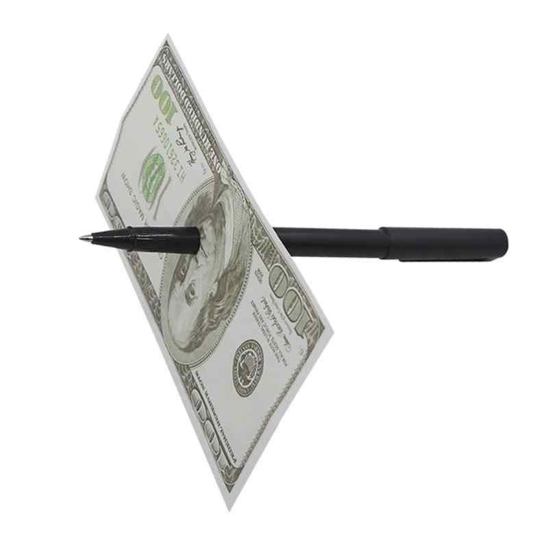 Двойная Ручка для проникновения купюр, пластиковая масляная ручка для пирсинга банкнот, шариковая ручка, уличный магический инструмент для фокусов, реквизит
