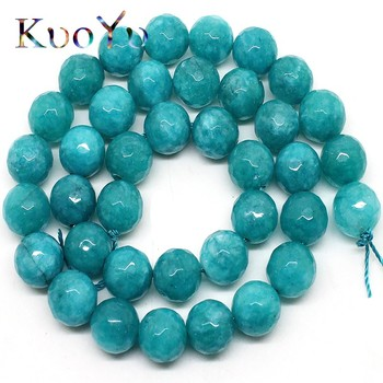 Natural Faceted Blue Stone Beads Round Loose Bead For Jewelry Making 15 4/6/8/10/12mm DIY Bracelets Pendant Necklace wholesale wholesale faceted green chalcedony jades stone beads round loose spacer bead for jewelry making diy bracelet 15 4 6 8 10 12mm