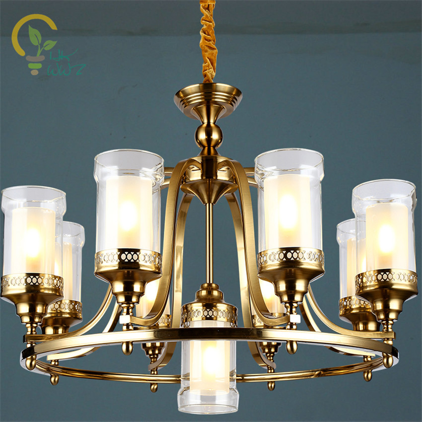 Chic Dining Room Chandeliers: American Style E14 110 240V Chandelier With Glass