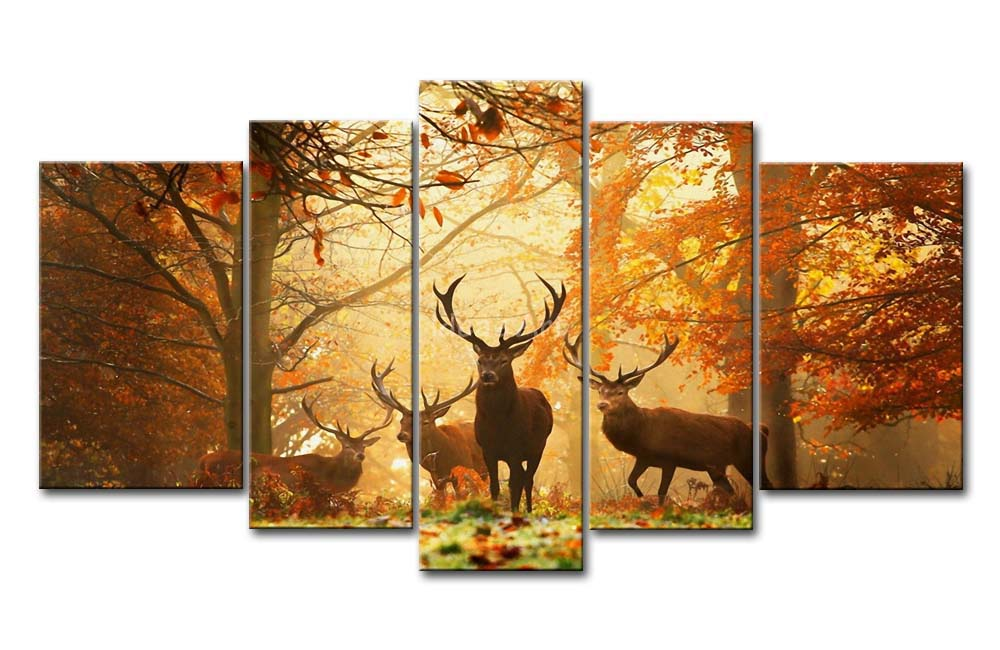 5 Piece Brown Wall Art Painting Deer In Autumn Forest