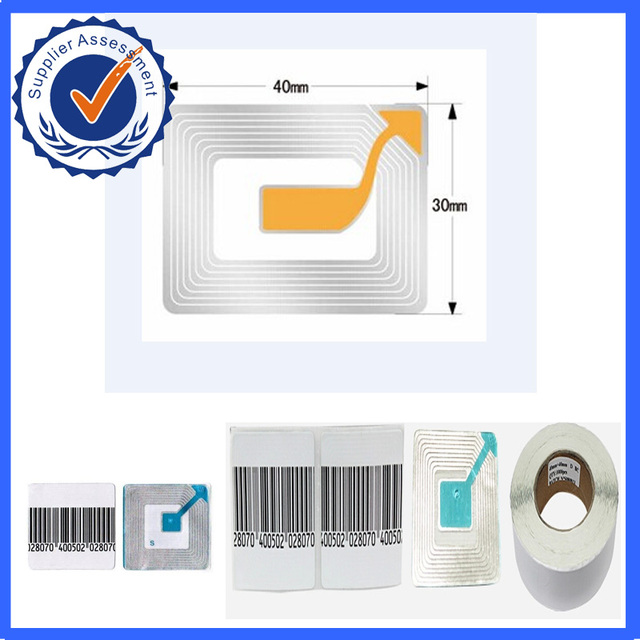 8.2Mhz barcode label eas security soft label 4cmX4cm  1000pcs per roll,eas security label ,adhesive label eas