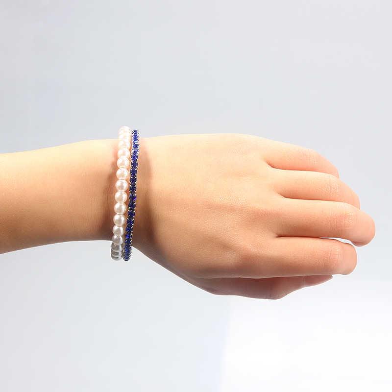 SUKI 2 filas elegante azul perla de cristal con abalorios pulsera elástica abierta brazalete brazo inspirador accesorio de joyería para niñas