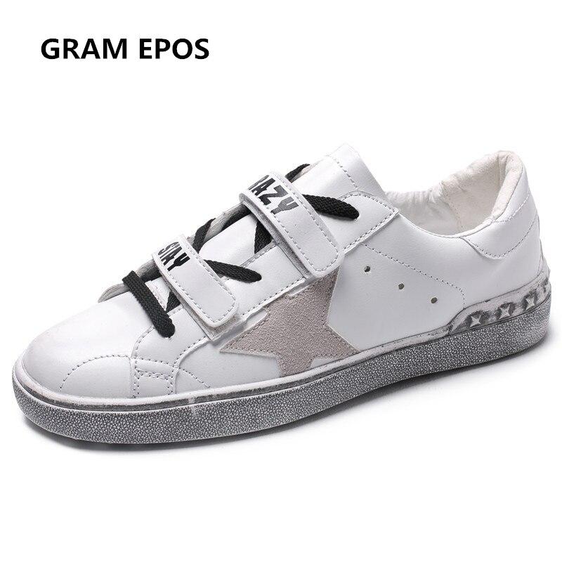 GRAM EPOS 2018 donne primavera estate super cool star casual scarpe Sporche In Pelle donna Piattaforma Bianca scarpe zapatos mujer scarpe da ginnastica