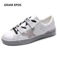 GRAM EPOS 2018 kobiety wiosna lato super cool gwiazda Brudne buty Skórzane na co dzień kobieta Biały trampki Platformy buty zapatos mujer