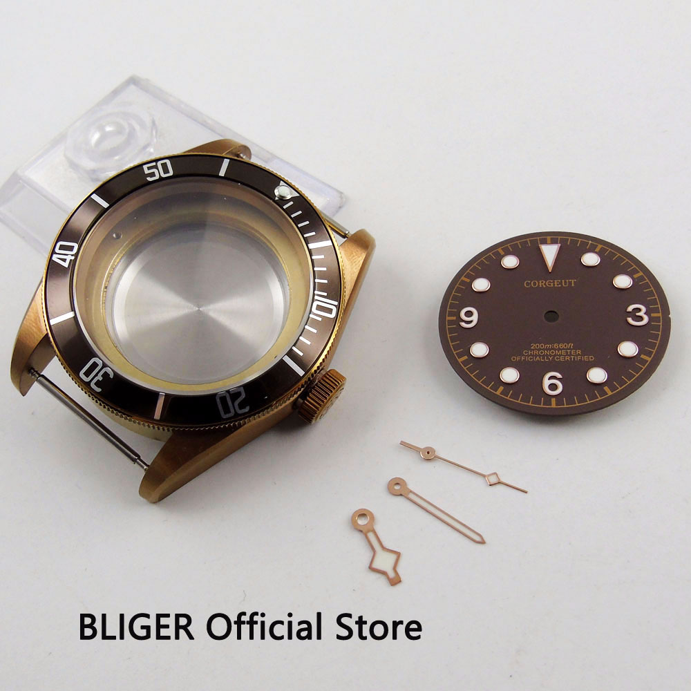 Solid 41MM Stainless Steel Watch Case Sapphire Crystal Bronze Rotating Bezel Case Fit For ETA 2836 Automatic Movement C104Solid 41MM Stainless Steel Watch Case Sapphire Crystal Bronze Rotating Bezel Case Fit For ETA 2836 Automatic Movement C104