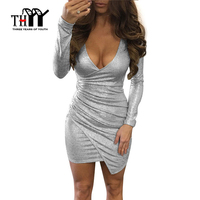 Sexy Silver White Slim Long Sleeved Autumn Dress Women Mini Club Dress 2017 Solid Bodycon Party