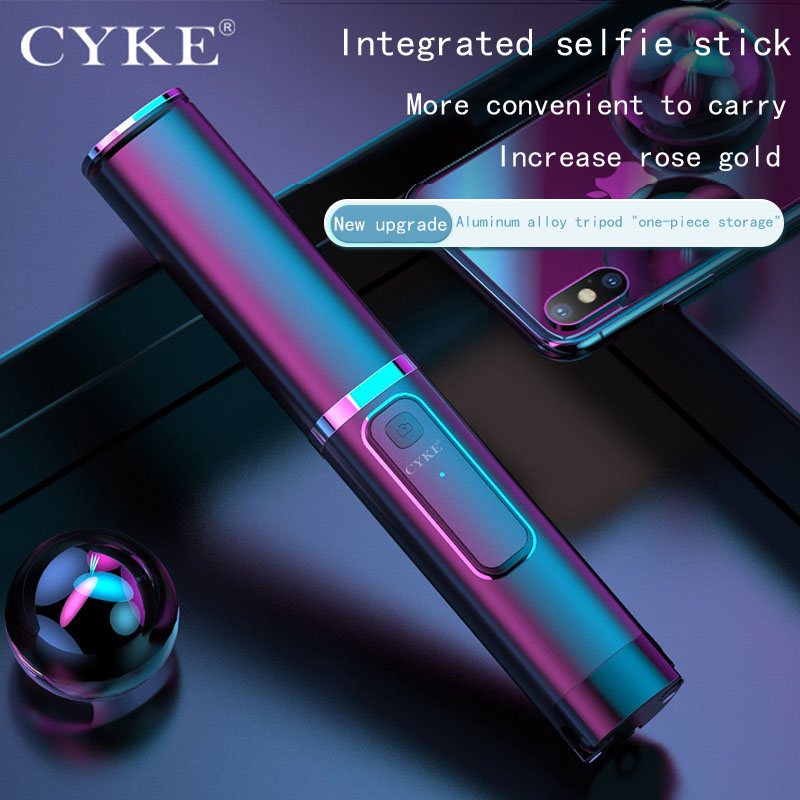 CYKE Mini Handheld Wireless Bluetooth Selfie Stick 3 in 1 Remote Control Shutter Selfie Stick Independent Tripod Telescopic Rod image