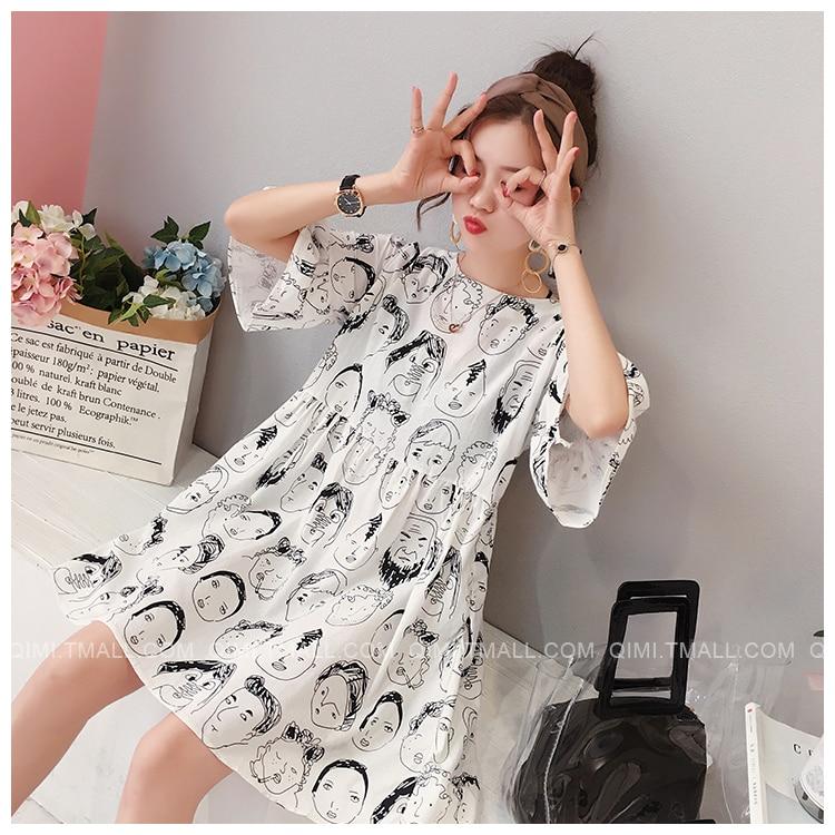 Summer Maternity Dresses Nursing Dresses High Waist Korean Face Breast feeding Dress Clothes for Pregnant Women Pregnancy Dress