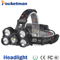 Headlight 35000 Lumen headlamp 5 Chip XM L T6 LED Head Lamp Flashlight Torch Lanterna Headlamp with batteries AC charger
