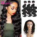 HJ Weave Beauty Brazilian Virgin Hair Hand-Tied 360 Lace Frontal With Bundles Body wave 3Pcs/lot Unprocessed Virgin Hair Weave