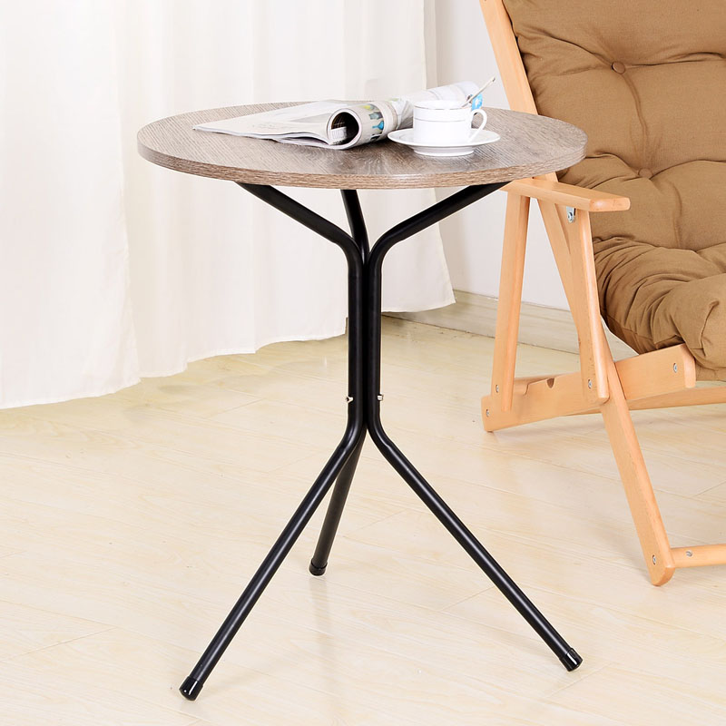 Metal simple small  triangle  round tea coffee table  round table wood and iron table for sell