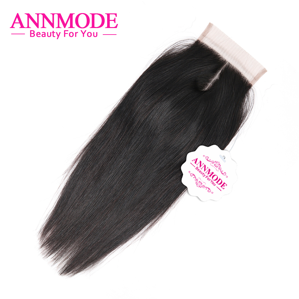 Annmode Indian Straight Closure 4x4 Inch 100% Human Hair Lace Closure Non Remy Hair Extensions 8-20 Inch Free Shipping