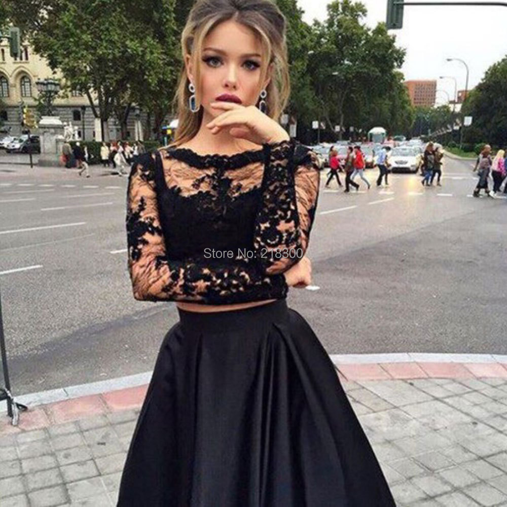 7b3e476a5d927 Black lace two pieces prom dress long sleeves ball gown crop top ...