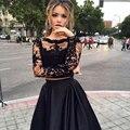 Encaje negro dos piezas vestido de manga larga vestido de bola camisa corta del desfile vestidos modest prom vestidos