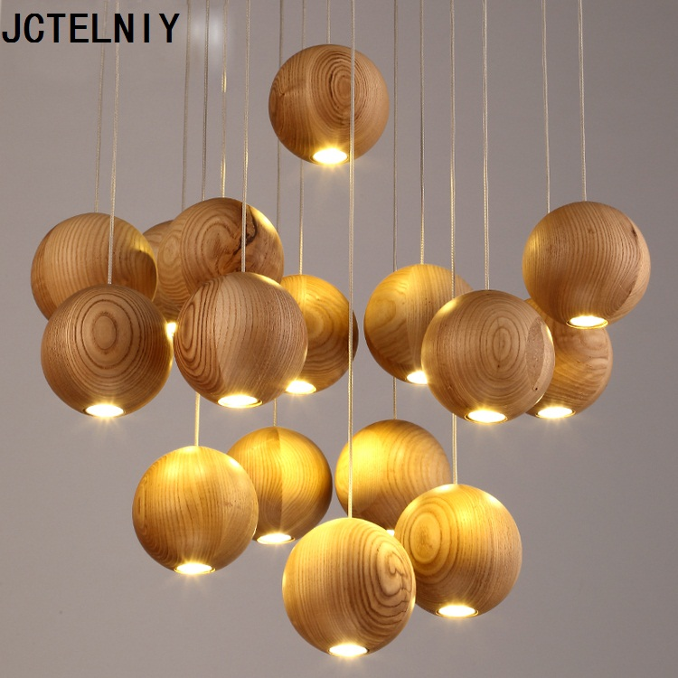 Solid wood chandelier modern Chinese Japanese Nordic creative minimalist living room dining three single-head wooden lamp