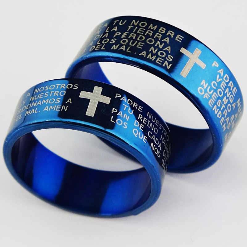 Guaranteed Genuine New 6m Religious Blue 316L Titanium Stainless Steel Cross Verses Men's Women Ring Wholesale Jewelry Lots A065