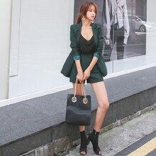 BGTEEVER Vintage Green Slim Short Suits Double Breasted Blazer