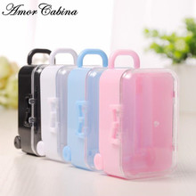 30pcs Plastic Mini Cute Rolling Travel Suitcase Box Shape Candy Box Wedding Kids Candy New Year Christmas Party Supplies