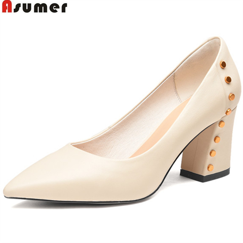ASUMER 2018 spring autumn shoes woman new arrival pointed dress shoes thick pumps women shoes genuine leather high heels shoes bfdadi 2018 new arrival hat genuine